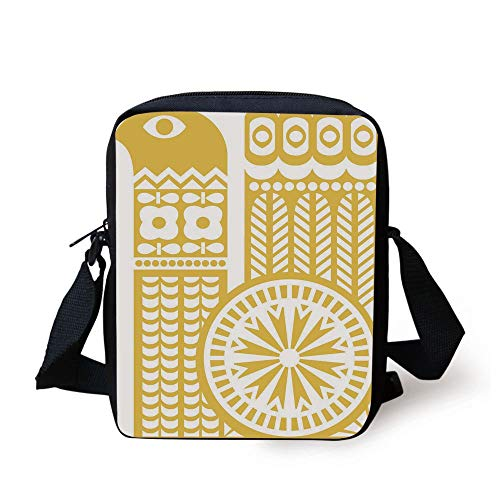 KLYDH Yellow and White,Abstract Bird in Scandinavian Folkloric Style Retro Design Floral Motif Decorative,Mustard White Print Kids Crossbody Messenger Bag Purse - White Yellow Leg