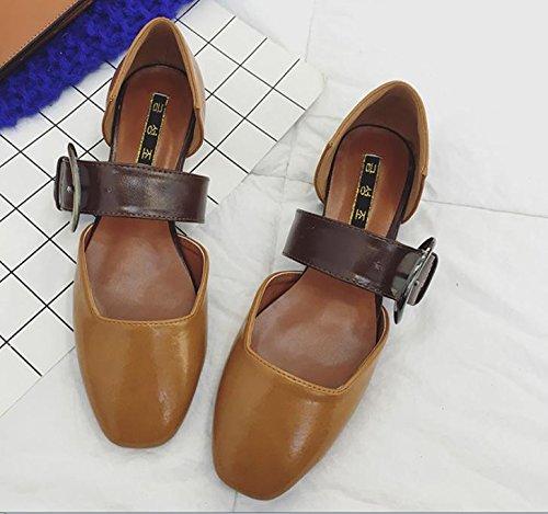 Rétro Boucle De Ceinture Unique Bouche Peu Profonde Chaussures Chaussures Plates Carrées Avec Tv Avec Des Chaussures De Dames Brunes
