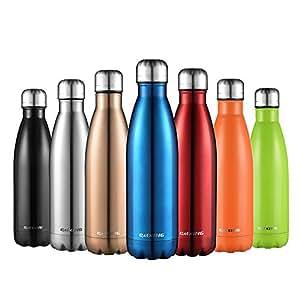 CMXING Bottiglia Acqua, 500ml/ 750ml Doppia Parete Acciaio Inox Sottovuoto Coibentato Bottiglia Termica, Sport Borracce Thermos (Blu, 500ML)
