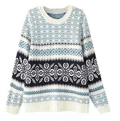 Smile YKK Pull Femme Manche Longue Tricot Sweat-shirt Court Automne Hiver Casual Tendance Bleu