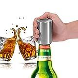 Queta abridor de Botellas de Acero Inoxidable portátil ergonómico automático Cerveza con capuchón magnético para Bebidas carbonatadas, Agua Brillante, Soda Open
