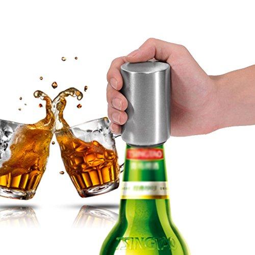 Tofree Flaschenöffner, tragbar Edelstahl Ergonomische Automatische Bier Öffner mit magnetische Kappe Catcher für kohlensäurehaltige Getränke, Wasser, Soda öffnen vermeiden Hand verletzt