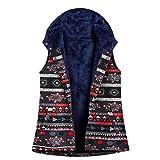 TEFIIR Kapuzenweste Weste Jacke Damen Baumwoll Hoodies Jacke Herbst/Winter Warme Bequem Outwear Kapuzenpullover Gedruckt Größe Plus Samt Tops Hemd Sweatershirt
