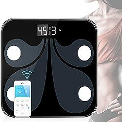 Báscula de Baño Digital Bluetooth con App, Multifuncional Báscula Corporal Electrónica, Mide el Peso, Grasa Corporal, Porcentaje de Agua, Músculo, Hueso y Caloría, Analizador Corporal con la Tecnología BIA, Alta Medición Precisa 180 kg/400lbs, Diseño Extraplano Antideslizante, Cinta Métrica Incluida, Cristal Templado.