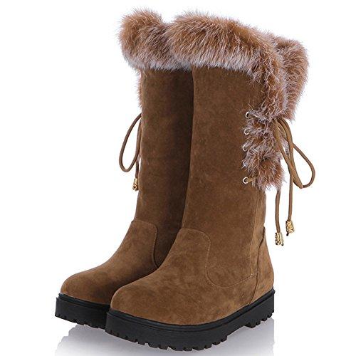 Marrone Metà Piatto Wealsex Farcito Stivali Caldo Moda Comfort Donna A Invernale Scarpe Polpaccio Lacci Delle Neve qXBx6