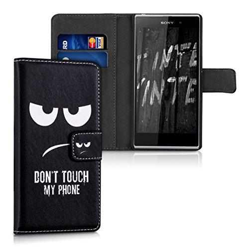 kwmobile Funda para Sony Xperia Z1 - Wallet Case plegable de cuero sintético - Cover con tapa tarjetero y soporte Diseño Don't touch my Phone en blanco negro