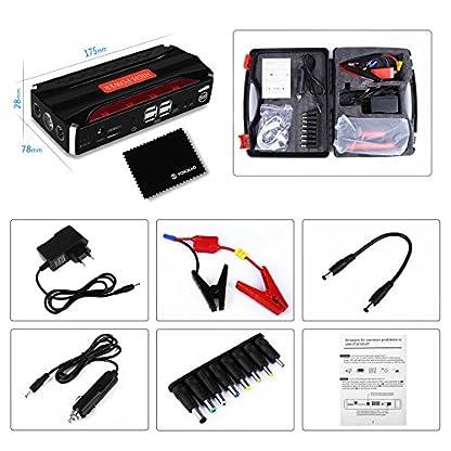 51FGLE 0GGL. SS416  - Jump Starter Batería Portátil de Emergencia para coche, YOKKAO Arrancador de Emergencia para coche 16800mAh 600, Kit de Arranque para coche con USB, Luz LED, Cargador Power Bank para Coche, Moto, Laptop, Smartphone, etc.