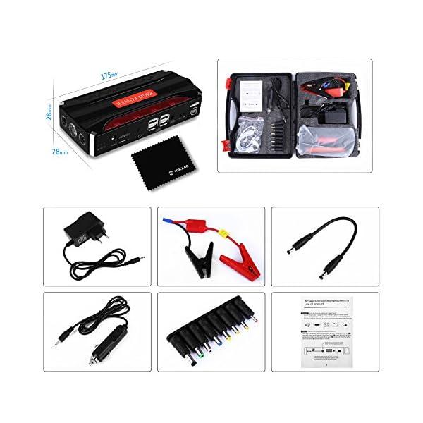 Jump Starter Batería Portátil de Emergencia para coche, YOKKAO Arrancador de Emergencia para coche 16800mAh 600, Kit de…