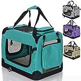 LCP Handels GmbH Klappbare Hundebox Hund Transportbox Faltbare Stoff Hundefaltbox Polster Henkel Trage Tasche; 70x52x52 cm Grün