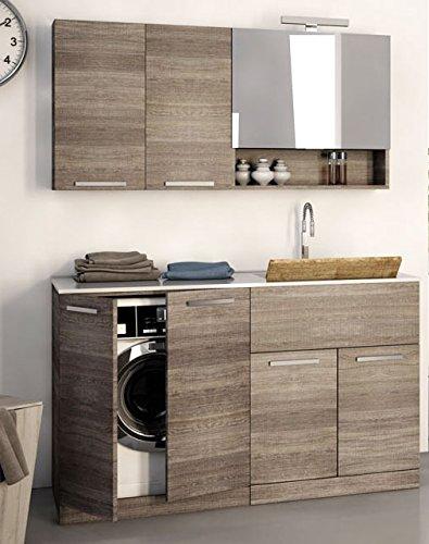 Dafnedesign.com - mobile lavanderia porta lavatrice e cesti bucato - misura: l.140 p.63 cm - finitura: rovere scuro - 100% made in italy - possibilità di personalizzare colori e dimensioni