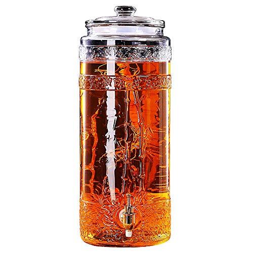 Beverage Dispenser YAN SYF 5L / 7,5L / 10L / 15L-Getränkespender   Kalte Getränke Getränkeautomaten   Glas-Einmachglas   Mit Deckel und Sockel   Leckfreier Metallzapfen   Bierspender   Klarglas A+