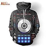 Vinyl-DJ-Musik Studio 3D Drucken Hoodies Männer Frauen Harajuku Pullover Hip Hop Jumper Casual Hipster Sportswear Dropship, XL