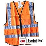 Salzmann Vestes et Gilets de Haute Visibilité Vêtements de Protection Fluorescents avec Poches Multiples Traffic Warning Reflective Jacket fabriqué avec 3M Scotchlite, 3 tailles