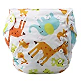 iZiv(TM) Neugeborene Organisch mit 1 Dick Insert wasserdichte Säuglings/Einstellbare/Fachverwendbare/Waschbare Tuch Windeln für Babys 0-3 Jahre(Giraffe)