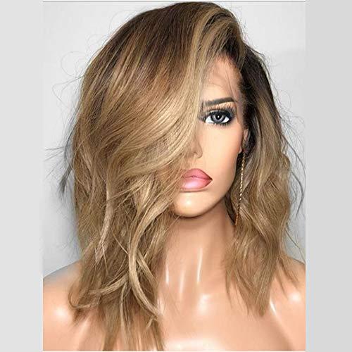 WQWIG 2019 Hollywood Celebrity Perücken für Frauen Hellblonde Perücken mit braunen Wurzeln Ombre Kurze Perücken Synthetische Blonde Haare Perücke 14 Zoll