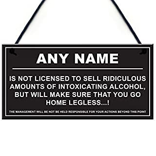 RED OCEAN Personalised Man Cave Sign Home Shed Pub Bar Licensee Funny Alcohol License Gift Plaque