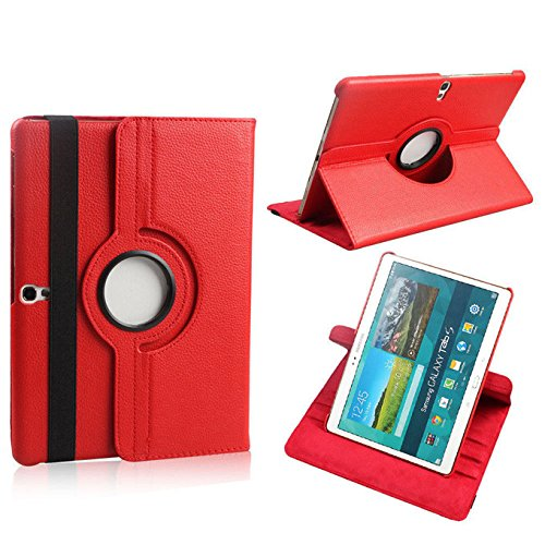 TGK® 360 Degree Rotating Luxury Leather Stand Smart Case Cover for Samsung Galaxy Tab S (10.5 inch) SM- T800, T805 (Red)  available at amazon for Rs.509