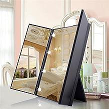 Specchio Trucco 8 LED Specchio Cosmetico Portatile Pieghevole con Supporto Regolabile Accessorio Eccellente per la Bellezza - Duomishu