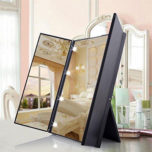 Specchio Cosmetico LED Pieghevole Portatile Makeup Mirror 3 Piegature Visualizzazione Completa 8 Led Riempimento di Luce con Supporto Regolabile Ottimo Accessorio per Bellezza - Duomishu