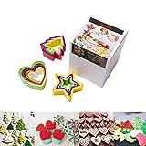 Somine Molde de Galletas(set de 15), diseño de estrella/corazones/árbol de navidad, Herramienta decorativa de la hornada para dar forma a la fruta de la pasta de azúcar de la galleta