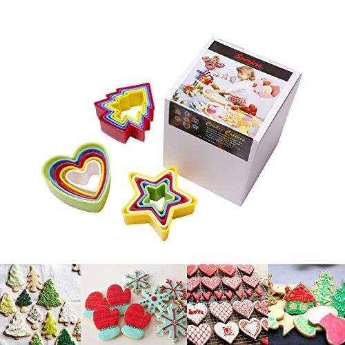 Somine set 15 stampini per biscotti a forma di stella/albero di natale /cuore - taglierine di varie dimensioni - perfetti per pasta di zucchero, frutte, torte ect