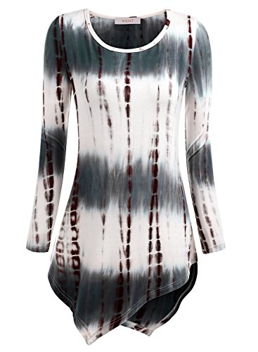Stretch Tunika Bluse (WAJAT Damen Langarm T-Shirt Asymmetrisch Hem Tunika Stretch Tie Dye Kaffee XL)