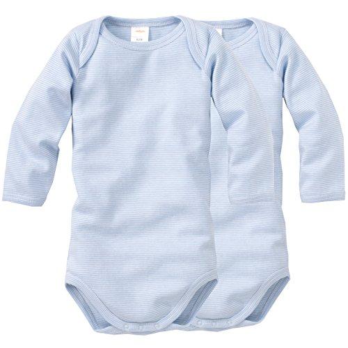 wellyou, 2er Set Kinder Baby-Body Langarm-Body, hell-blau weiß gestreift, geringelt, für Jungen und Mädchen, Feinripp 100% Baumwolle, Größe 50-134