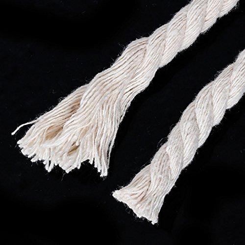 10m Schnur aus Baumwolle, geflochten, grauweiß (naturfarben), 8mm dick