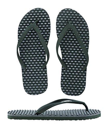 SOULS Australian Thongs Zehentrenner Unisex Comfort Massage Noppen Sohle 'Outdoor Green' Sandale Wellness Badeschuhe, Größe:38/39