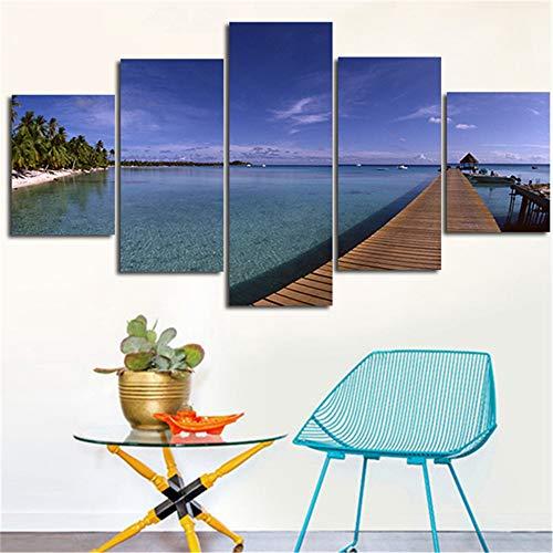 lsweia 5 Panel Strand segeln Landschaft Malerei Leinwand Wandkunst Bild Wohnzimmer Dekoration Moderne Leinwand Malerei rahmen-40x60 40x80 40x100 cm