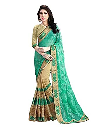 Indian E Fashion Faux Georgette Saree With Blouse Piece (_Green_Free Size)