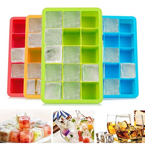 Migimi Eiswürfelform, Silikon Eiswürfel Form 4 Stück Eiswürfelformen Würfel Eiswürfel, Silikon Eiswürfelbehälter für Bier, Cocktails, Whisky, Wasser, Soda, Obst, Pudding - für Familie, Partys und Bars