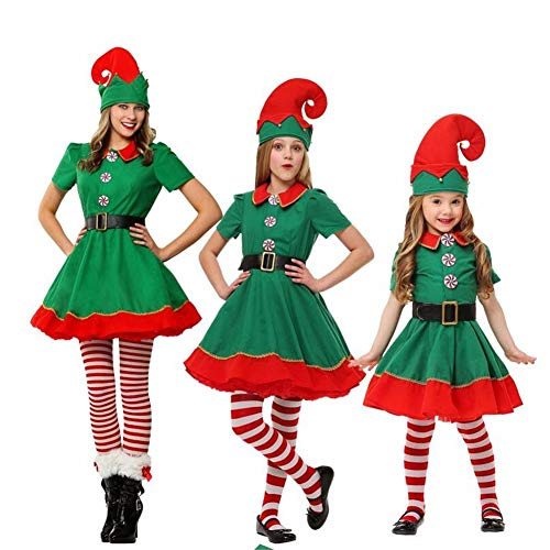 Adult-Kind Prestigeträchtiges Womens Santa Claus Helfer Green Holiday Elf Weihnachts-Kostüm Sweet Dress Make You Jingle All The Way-3pcs,Women'swear,110CM