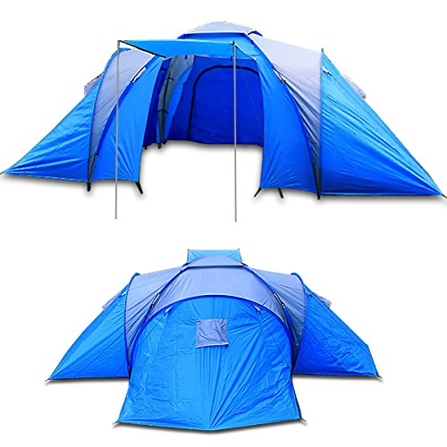 Camping-Family-Tent-6-Person-Man-Berth-Waterproof-XXL-Blue-Hiking-Travel-Dome-Tent
