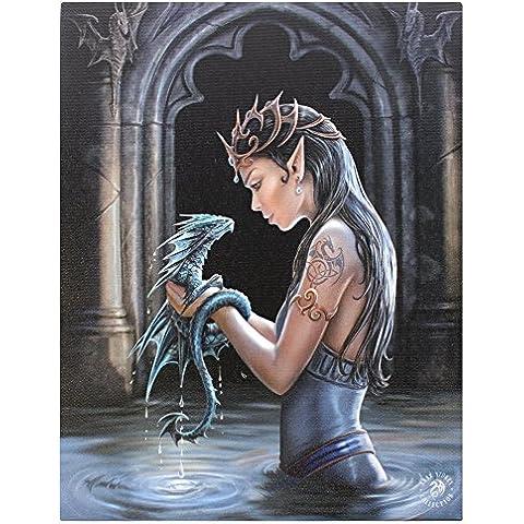 Dragón de agua - Grande (50 x 70 cm) - ángel gótico de hadas - lienzo con su bebé dragón rígidapara/placa de la pared del marco de la foto del arte de la pared - por el artista Anne Stokes