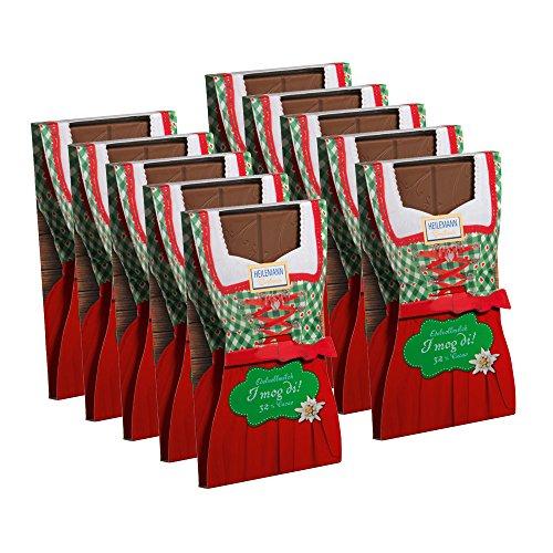 Preisvergleich Produktbild 10er SET Flachtafel Dirndl Edelvollmilch Schokolade 37 g Tafel / Alpenserie