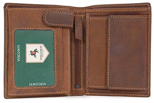 Visconti Geldbörse - Leder - Jägerstil (709) Größe: B: 9 cm, H: 11,5 cm, T: 2,5 cm Öl Hellbraun