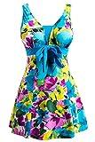 Wantdo Damen Figurformend Einteiler Badeanzug Große Lake Blue Flower 44-46