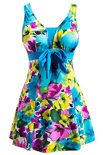 Wantdo Traje de Baño 1 Pieza para Mujer Monokini Estampado Floral con Falda 48 Turquesa