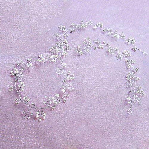 TININNA Kristalle Perle Hochzeit Stirnbänder Hochzeit Kopfschmuck Braut Stirnband Haar Rebe Zubehör für Frauen und Mädchen (100cm/39.3inches)