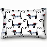 tuyi French Cat Cute Cartoon Animals Wildlife Paris Animals Wildlife Paris Pillowcases Decorative Pillow Covers Soft and Cozy, Standard Size 20'x30' with Hidden Zipper