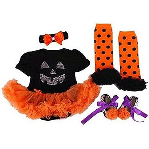 Highdas Neonata Appena Nata Pumpkin di Halloween Gonna Pagliaccetto Tutu Romper + Fascia + Scarpa + Calze 4pcs Outfit Abitini, 0-18 mesi