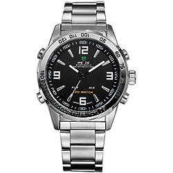 WEIDE Stainless Steel Sport Digital Quartz Wrist Watch 1009 (Black)