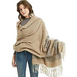 LIVEHITOP Largo Pashmina Invierno Suave Cálido Bufandas de lana Wraps Manta Chal Enrejado Bufanda grande para mujer Dama de lana Grueso paño grueso y suave Bufanda giratoria Chal Estola