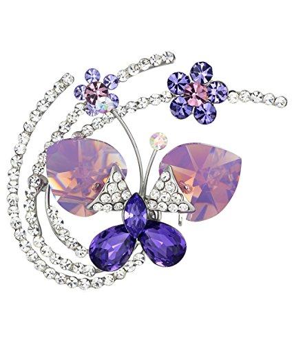 Fluid Butterfly Austrian Crystal Brooch Pin (Purple) 4016801