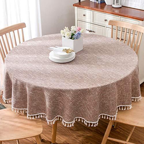 estil Einfarbig Sackleinen Tischdecke Couchtisch Runde Tischdecke Abdeckung Tuch Kaffeefarbe (Quaste) (Durchmesser 160cm) ()