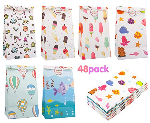 Zooawa [48PACK Cartoon Party Favor Bags - White Craft Paper Gift Bags, Goodie Candy Treat Bags with Thank You Stickers for Wedding Birthday Baby Shower Tea Party Décor - Colorful