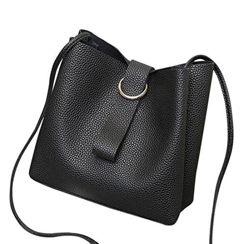 Schultertaschen für Damen Groß Jamicy® Mode Kunstleder Frauen Lichee Muster Umhängetasche Schultertasche Bucket Bag 8.66'' x 3.94'' x 8.66'' Schwarz