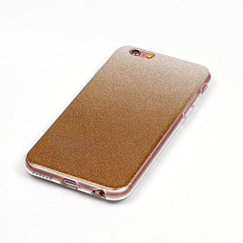 iPhone 6 Hülle, iPhone 6S Hülle, E-Lush Mode Muster TPU Hülle für Apple iPhone 6 6S(4,7 zoll) [Kratzfeste, Scratch-Resistant] Weiche Flexibel Silikon Handyhülle Gradient Crystal Bling Clear Transparen Braun