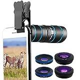 Lente fotocamera del telefono, Afunta kit 5in 1-12x teleobiettivo zoom & 0.36x super grandangolo + 15x lente macro e 180° fisheye + 15x obiettivo macro compatibile iPhone/Samsung